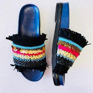 TORY BURCH Isle Embellished Leather Slide - 8